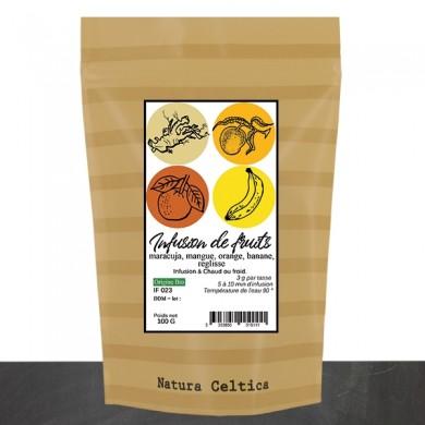 infusion de fruits, maracuja, mangue, orange, banane, reglisse, bio