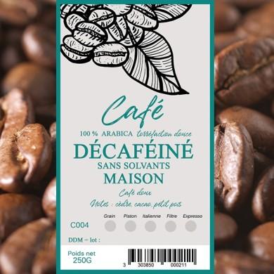 Café déca sans solvants, grain