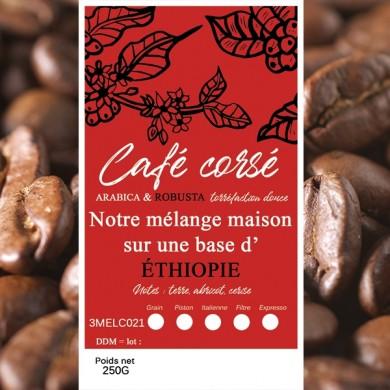 blend café corsé, sidamo + robusta grain