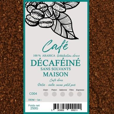 Café déca sans solvants, moulu