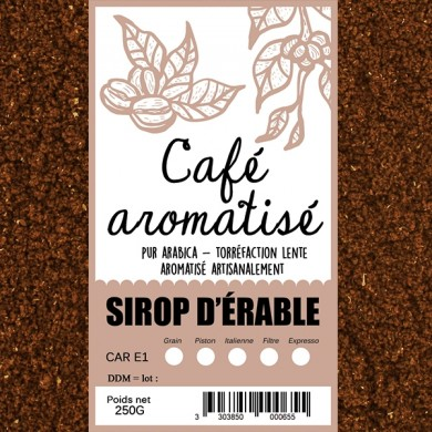 Maple syrup flavored coffee ground