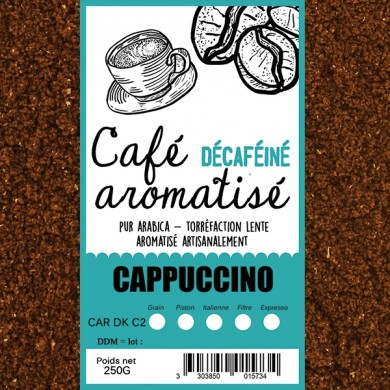 café décafeiné aromatisé cappuccino