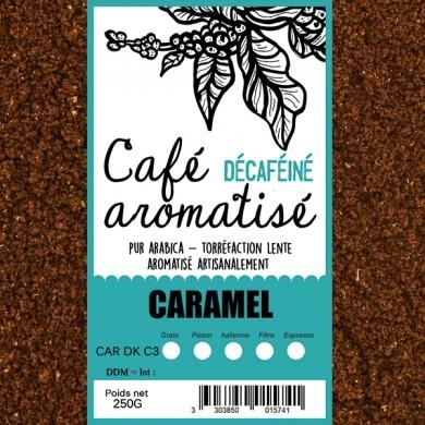 café décafeiné aromatisé caramel moulu