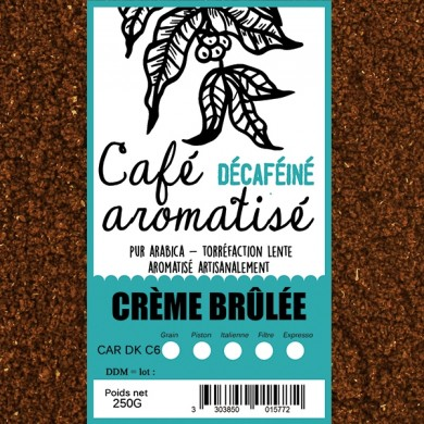 decaffeinated coffee flavored crème brûlée ground
