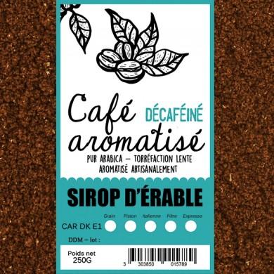 café décafeiné aromatisé sirop d'érable moulu