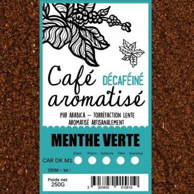 café décafeiné aromatisé menthe verte