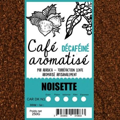 café décafeiné aromatisé noisette moulu
