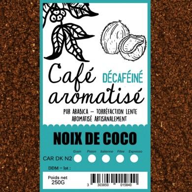 café décafeiné aromatisé noix de coco moulu