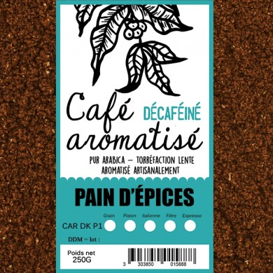 café décafeiné aromatisé pain d'épices moulu