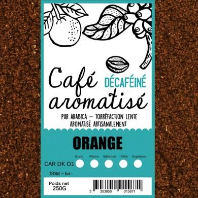 café décafeiné aromatisé orange