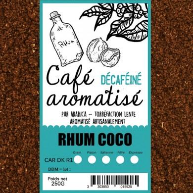 café décafeiné aromatisé rhum coco