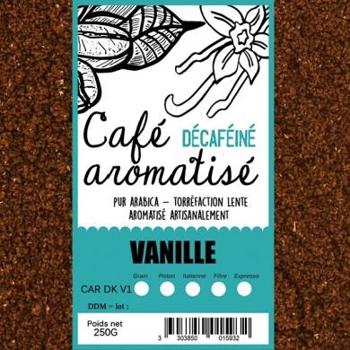 café décafeiné aromatisé vanille moulu