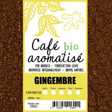 café moulu biologique aromatisé gingembre