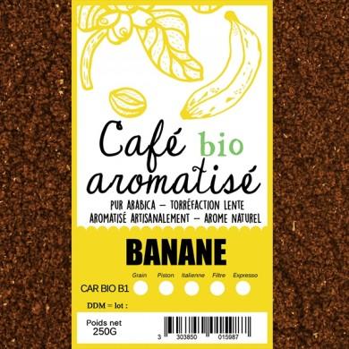 café biologique aromatisé banane moulu