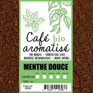 café moulu biologique aromatisé menthe verte