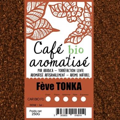 café moulu biologique aromatisé fève tonka