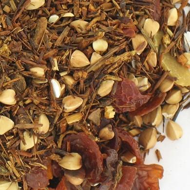 Sobacha : Infusion de sarrazin torréfié et de rooibos à la pomme, cannelle, vanille, amandes, orange, cardamone, clou de girofle
