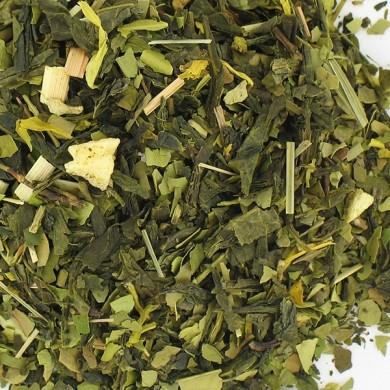 Maté vert et  thé vert, gingembre, citron , Origine bio .