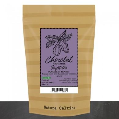 chocolat en poudre myrtille