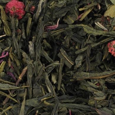 thé vert de chine pétales de roses cerise