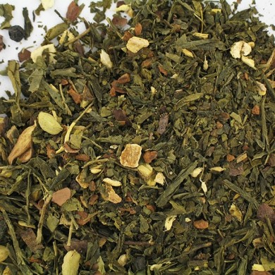 Thé vert de Chine sencha et épices : cannelle cacao chia gingembre écorce d'orange carthame origine BIO