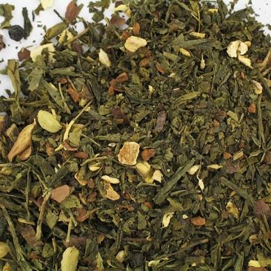 Thé vert de Chine sencha et épices : anis, cannelle, gingembre, réglisse, zeste d'orange BIO
