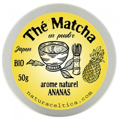 thé vert bio du japon matcha ananas poudre  boite 50G.