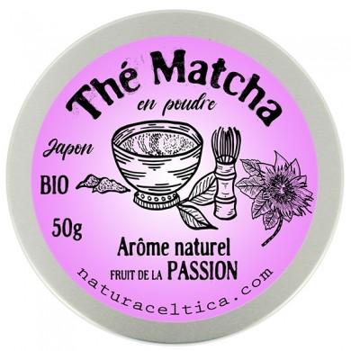 thé vert bio du japon matcha fruits de la passion poudre  boite 50G.
