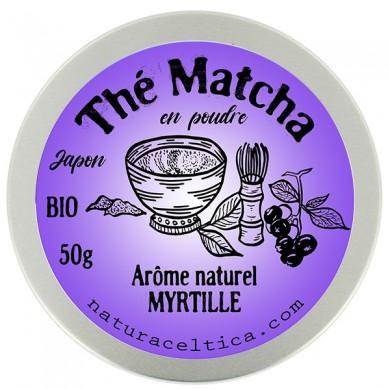 thé vert bio du japon matcha myrtille poudre  boite 50G.