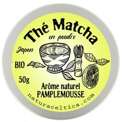 thé vert bio du japon matcha pamplemousse poudre  boite 50G.