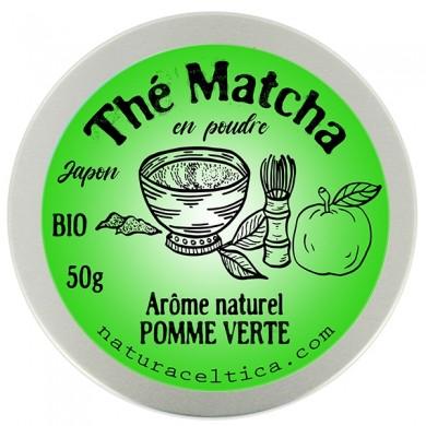 thé vert bio du japon matcha pomme verte poudre  boite 50G.