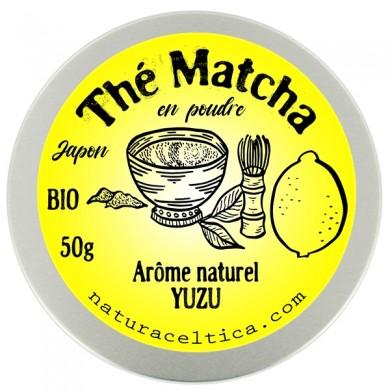 thé vert bio du japon matcha yuzu poudre  boite 50G.