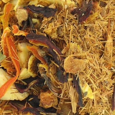 infusion catuaba et fruits  banane noix de coco orange pomme  peche mangue cannelle verveine