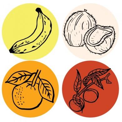 infusion de fruits bio banane noix de coco orange pêche mangue cannelle verveine