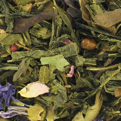 Thé vert aux ALGUES NORI papaye, ananas, framboise, fraise, rose, mauve bio